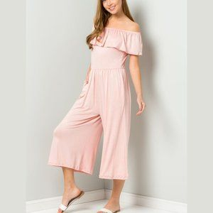 Be Stage Pants & Jumpsuits - Off the Shoulders Pretty Pink Jumpsuit